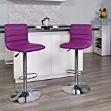 Flash Furniture Modern Purple Vinyl Adjustable Bar Stool with Back, Counter Height Swivel Stool with Chrome -Pedestal Base