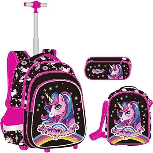 Unicorno Zaino Trolley Ragazze Set da 3 pezzi, Zaino Ruote Scuola Elementare Borsa Trolley con Borsa Pranzo Borsa per Penna Ideale per Bambini Studenti della Classe 1-6