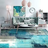 Turquoise Modern Abstract Area Rugs for Living Room Blue Carpets for Bedroom Art Painting Rugs for Kitchen Dining Room Waterfall Vintage Runner Rugs Contemporary Floor Mats Rug C 6X8ft