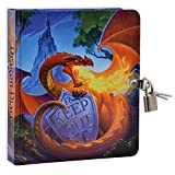 Keep Out Glow in The Dark 6.25' Lock and Key Dragon Diary for Kids, 208 Lined Pages
