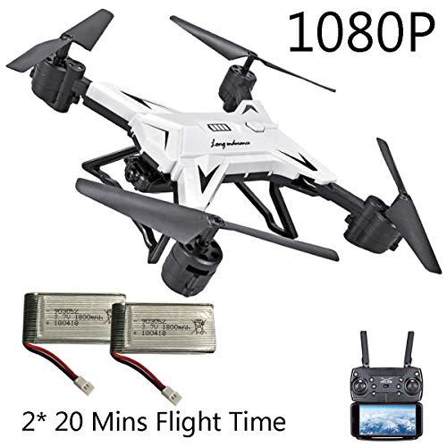 APJS KY601S Drone FPV WiFi Adulti Quadcopter UAV Frame con Telecamera, 20 min di Volo Active Track, 1080P Ultra HD Droni quadricottero Gimbal RC, Altitudine Attesa, App Controllo,Bianca
