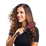 Dashingzone 2 in 1 Simply Hair Straightener Straight Ceramic Hair Straightener Brush Perfectly Straight Hair Brush and Comb for Women (Black)