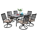 MF Dining Set 7 Pieces Metal Patio Furniture Set, 6 x Swivel Chairs with 1 Rectangular Umbrella Table for Outdoor Lawn Garden Black