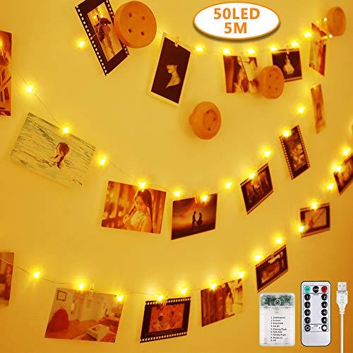 Anpro 50 LED Luci Foto con Mollette - Telocomando Striscia Luci Portafoto con 8 Modalit di...
