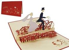 LIN Pop Up Biglietti di Matrimonio Inviti, matrimonio Valentin Karten 3d biglietti di auguri, biglietti di auguri Amore Matrimonio, Coppia di Sposi con bicicletta