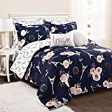 Lush Decor Navy Vintage Paris Rose Butterfly 7-Piece Comforter Set Reversible Bedding (Full/Queen)