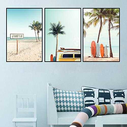 YCCYI Peinture sur Toile Paysage d'été Planche de Surf Palmiers Mur Art...