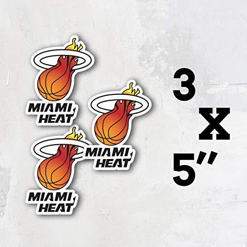 Heat Basketball - Miami Sport Logo Vinyl Sticker Decal Set of 3 Pieces - 5'' Longer Side
