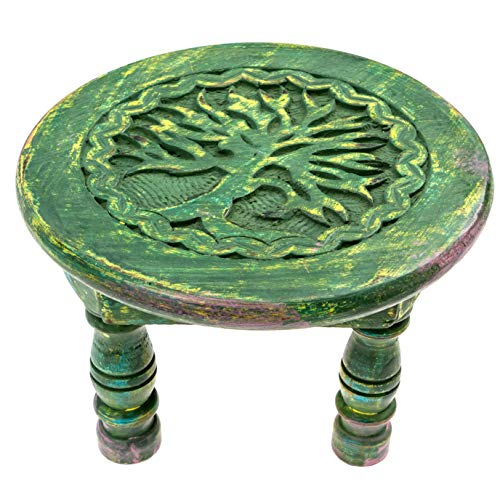 Carved Wooden Tree of Life Altar Table - Light Green with Splashes of Color - 6 Inch Diameter, 4.5 Inches Tall