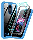 LeYi LG Tribute Empire Case, LG Aristo 3 Phone Case, LG Rebel 4 LTE/Aristo 2/Fortune 2/Tribute Dynasty/Zone 4/Aristo 2 Plus Case with Screen Protector, Full-Body Rugged Hybrid Bumper Clear Cover Blue