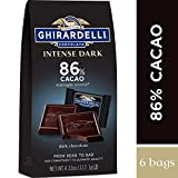 Ghirardelli Intense Dark Chocolate Squares - 86% Cacao – Dark chocolate with hints of cherries and plums – 4.12 oz. (117.1g) (Pack of 6)