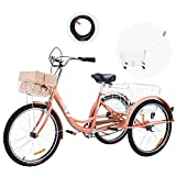 Viribus 24 Inch Single Speed Adult Tricycle | 3 Wheel Cruiser Bike with Removable Wheeled Basket, Dustproof Bag, Lights & Bell for Cycling Shopping Picnic | Hybrid Beach Trike for Men & Women, Pink