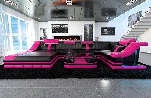 Sofa Dreams Wohnlandschaft - Cuoio a U Turino, Colore Nero/Rosa