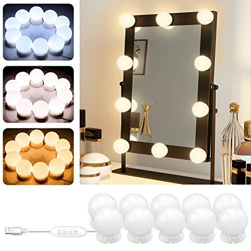 Luci di Specchio per Trucco POVO 10 LED Lampadine da Specchio Cosmetico di Stile Hollywood Lampada...
