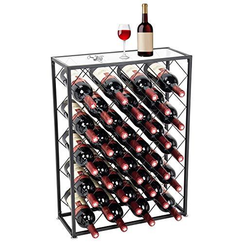 D4P Display4top Porta-Bottiglie di Vino,32 Posizioni,con Piano in Vetro, Ideale per Cantina Cantina...
