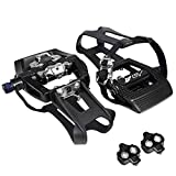 BV Bike Shimano SPD Compatible 9/16'' Pedals with Toe Clips (SPD Cleats included) - Spin/Indoor/Exercise/Peloton Bicycle Pedals