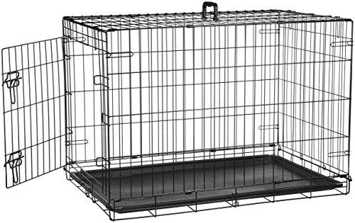 AmazonBasics Single Door Folding Metal Dog Crate Kennel - 36 x 23 x 25 Inches