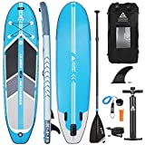 Leader Accessories 10'6' Blue Inflatable Stand Up Board with Fins (6' Thick) Includes Adjustable Paddle,Kayak Leash,ISUP Backpack,Pump with Gauge