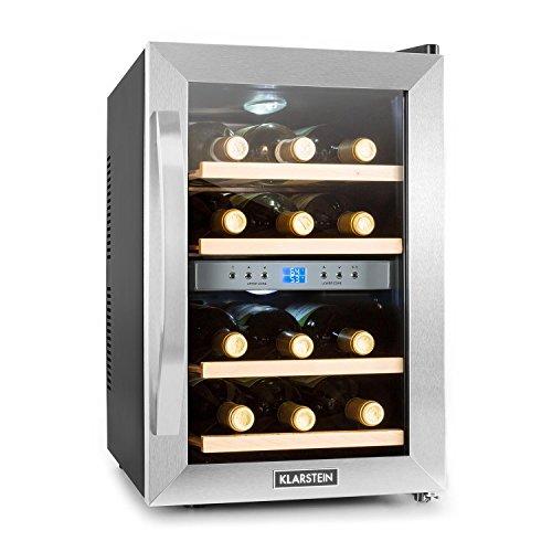 Klarstein Reserva - Frigorifero per vini e bevande, 34 L, 12 bottiglie, 4 ripiani, silenzioso, range...