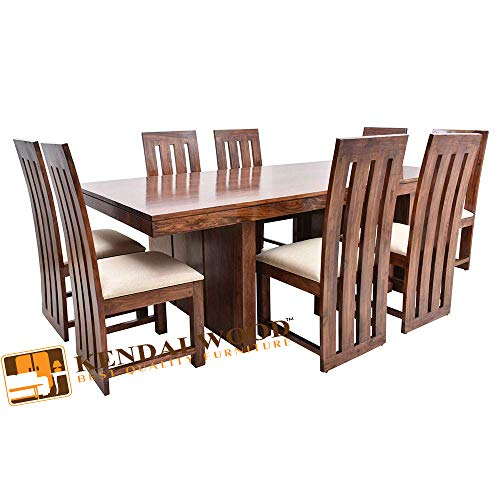 Hariom Handicraft KendalWood Furniture Sheesham Wood Walnut Finish 8 Seater Dining Table with Chairs and White Cushion