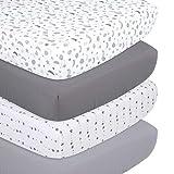 The Peanutshell Grey Moon & Stars Fitted Crib Sheet Set, 4 Pack Celestial Print, Grey & White