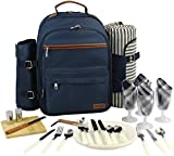 Picnic Backpack for 4   Picnic Basket   Stylish All-in-One Portable Picnic Bag with Complete Cutlery Set, Stainless Steel S/P Shakers   Picnic Blanket Waterproof Extra Large  Cooler Bag for Camping