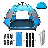 XISHUAI Tente de Camping 3-4 Personnes - 100% Anti UV...
