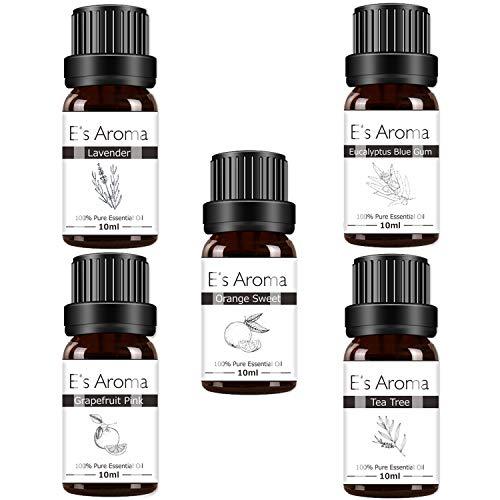 E's Aroma アロマオイルセット 100%純正 エッセンシャルオイル 厳選精油 10ml 5本セット プレゼントに最適 ...