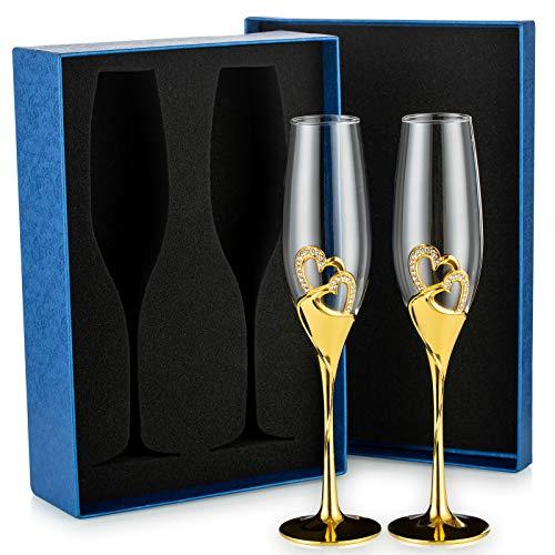 Sziqiqi 2 Pezzi Flute da Champagne con Confezione Regalo Bicchieri di Vino Creativo Ad Alta qualit, Bicchiere di Champagne, Bicchiere a Calice, Coppa Nuziale per la Festa Anniversario Matrimonio