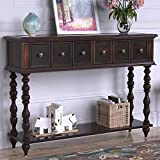 Console Sofa Table Console Table for Entryway with Two Drawers and Wood Bottom Shelf Antique Design Sideboard Table,Espresso Brown