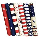 ZAIONE 7pcs Fat Quarter 19.6' x 19.6'(50cm x 50cm) 100% Cotton Fabric July 4th Patriotic Decoration...