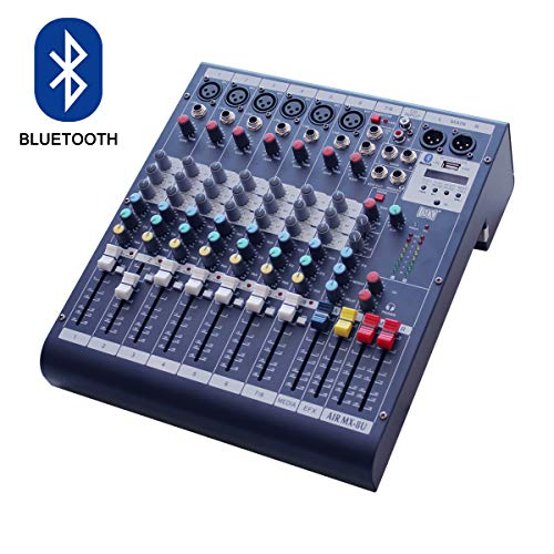 MAXCART Live Audio 8 Channel Professional Sound Mixer with USB and Bluetooth AIR8USB