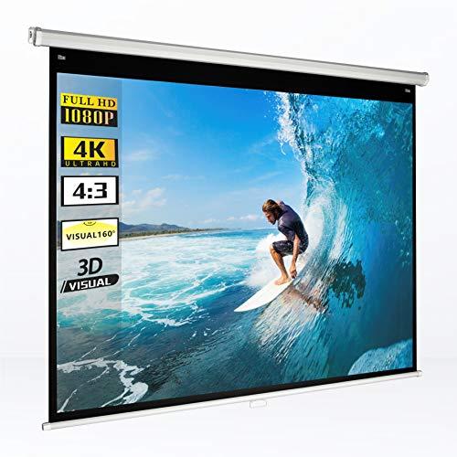 手動吊り下げ式 プロジェクタースクリーン 75インチ 4:3 画面の高さ115cm×幅154cm 屋内使用 4K UHD 視野角1...