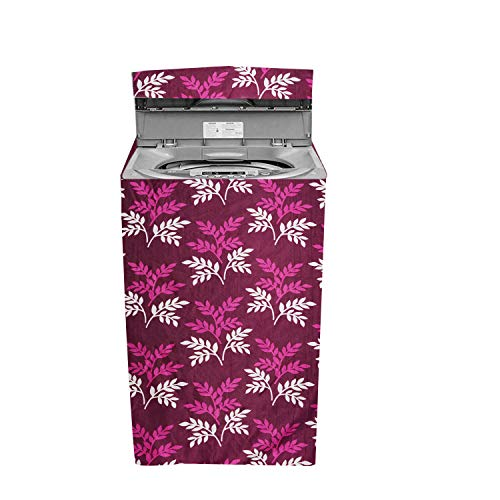 KANUSHI Industries Washable & Dustproof Floral Design Top Load Fully Automatic Washing Machine Cover (Purple) (Suitable for 6 Kg, 6.5 kg, 7 kg, 7.5 kg)(WASMAC-PURPLE-SMALL-LEAVES-FULLY-01)
