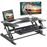 VIVO Height Adjustable Standing Desk Sit to Stand Gas Spring Riser Converter | 36' Tabletop Workstation fits Dual Monitor (DESK-V000B)