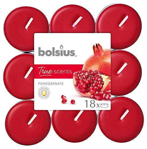 Bolsius True Scents Tealights Profumati e Colorati in PC-Cup, Cera, Rosso, Standard, 18 unit