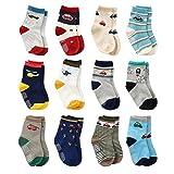 12 Pairs Toddler Boy Grips Socks, Baby Socks Boy Infant Cotton Crew Socks Anti Slip for Kids (18-36 Months, 12 Pairs Plane & Car)