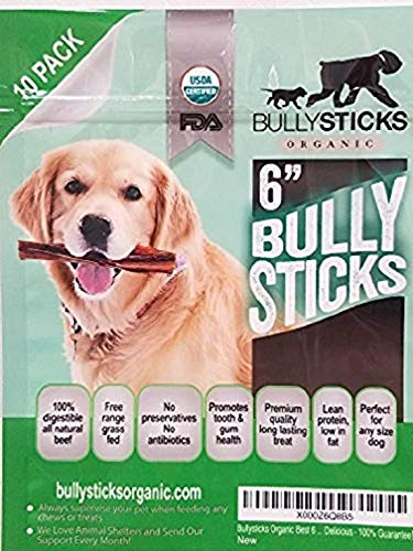 Bullysticks Organic Standard 6' Bully Sticks for...