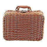 Tiamu – Cesta de picnic de viaje, hecha a mano, para guardar balancín, maletín vintage, accesorios para tejer, caja de bambú, organizador de ratán