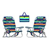 Tommy Bahama Backpack Beach Cooler Chair Bundle (Stripe) with Camco Handy Mat