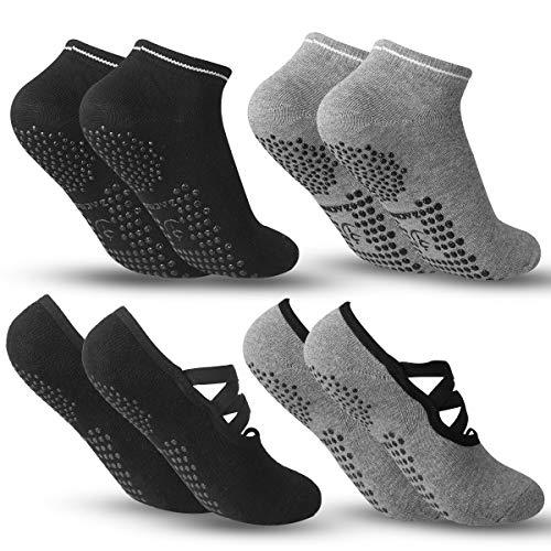 Zacro Calze da Yoga Antiscivolo Yoga Socks 4 Pairs Fitness, Pilates, Barre, Danza, Allenamento a Piedi Nudi Cadute Prevenzione Donna Calze - BlackGray