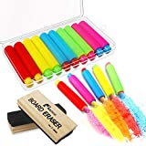 10 Pcs Colored Chalk Holder Chalk Clip with Storage Case and 2 Pack Chalkboard Erasers Wool Felt Dustless Blackboard Eraser Chalk Eraser for Teachers, Kids