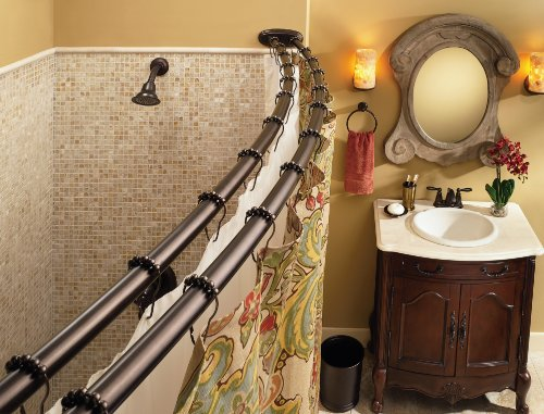Moen DN2141OWB 60-Inch Adjustable Stainless Steel Double Curved Shower Rod, Old World Bronze