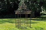 CLP Garten-Pavillon Crown, Pavillion mit Seitenwänden, rund Ø 2 Meter, Höhe 340 cm, stabiles Eisen (Metall), stilvolles Design, Farbe:Bronze