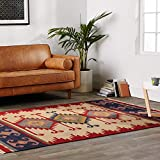 EORC DN1MU Handmade Wool Keysari Kilim Rug, 5-Feet by 8-Feet, Ivory