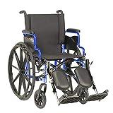 Invacare 9000 XT Wheelchair for Adults | Lightweight Long Term Folding | 16 Inch Seat | Legrests & Desk Arms | Cobalt Blue