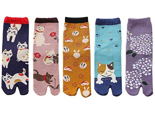 5 paia di calzini flip flop per gatti giapponesi in cartone animato Calzini in cotone geta Eleganti calzini casual
