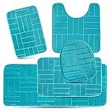 Effiliv Bathroom Rugs Set 5 Piece Memory Foam Mats, Extra Soft Anti-Slip Shower Large Bath Rug  Happy Feet, Happy Life, Aqua Teal Line Design