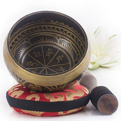 Tibetan Singing Bowl Set — Easy to Play with Cushion & New...