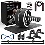 Ab Roller Wheel, 10-In-1 Ab Exercise Wheels Kit with Resistance Bands, Knee Mat, Jump Rope, Push-Up Bar - Home Gym Equipment for Men Women Core Strength & Abdominal Exercise